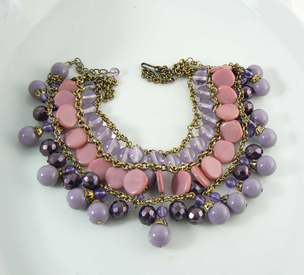 Miriam Haskell Dangling Purple and Pink Glass Bead Bib Necklace - Vintage Lane Jewelry