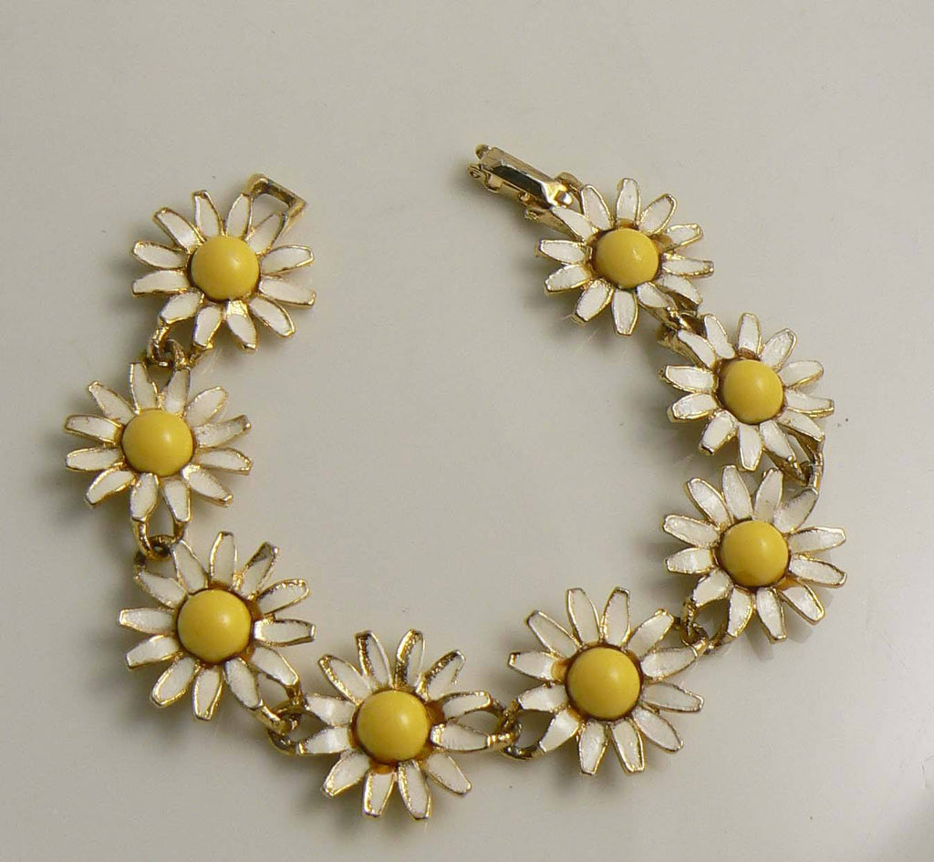 Vintage signed Weiss Enameled Sunflower Bracelet - Vintage Lane Jewelry