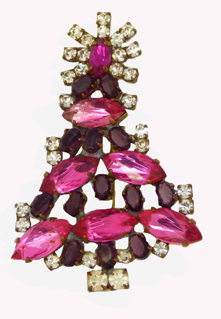 Czech Glass Pink and Purple Cabochon Husar D. Signed Christmas Tree Pin, X-mas pin, Holiday Brooch - Vintage Lane Jewelry