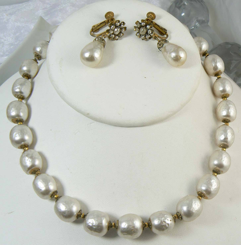 Miriam Haskell Large Baroque Glass Pearl Necklace and Earring Set - Vintage Lane Jewelry