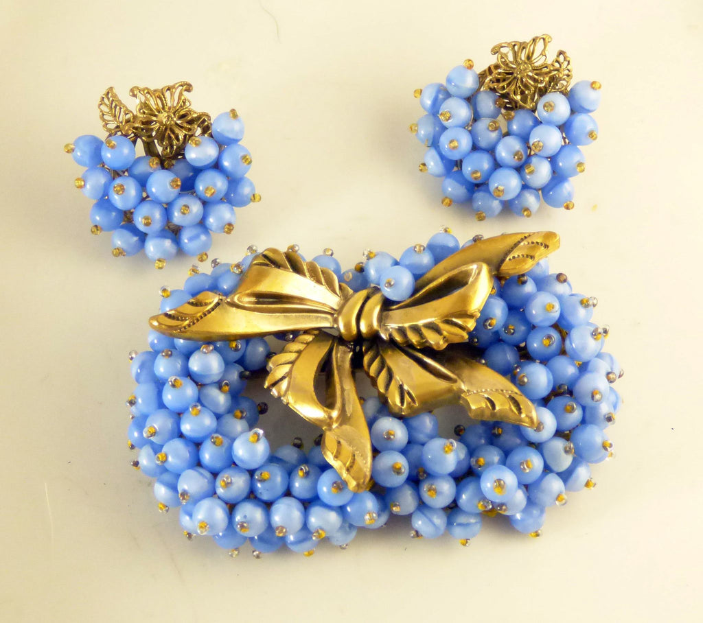 Early Miriam Haskell Blue Glass Bead Gold Ribbon Hand Tied Demi Parure, Clip Earrings - Vintage Lane Jewelry