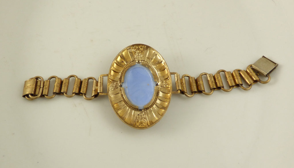 Antique Baby Blue Molded Glass Ornate Book Chain Bracelet - Vintage Lane Jewelry