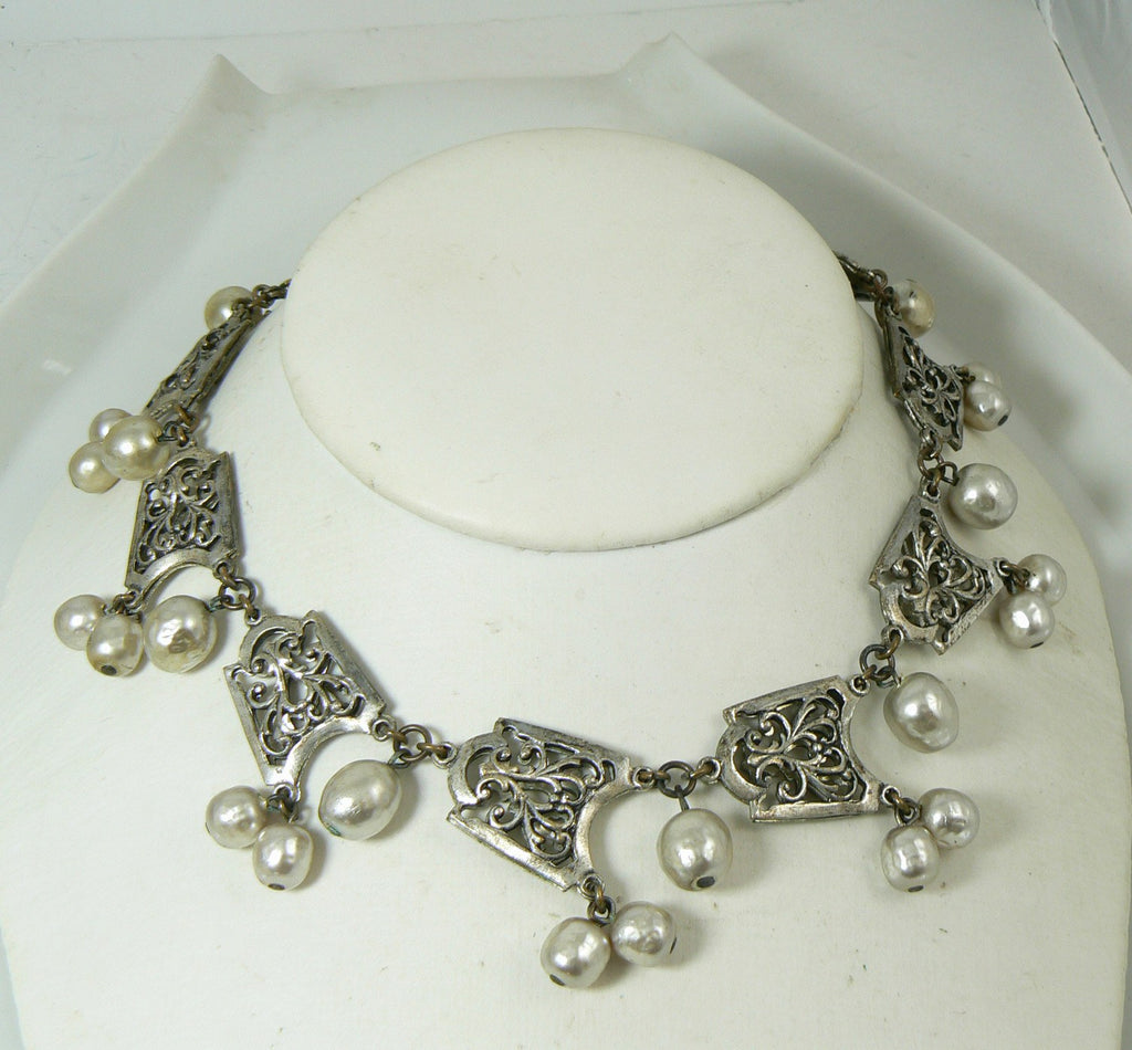 Miriam Haskell Baroque Pearl and Silver Filigree Festoon Necklace - Vintage Lane Jewelry