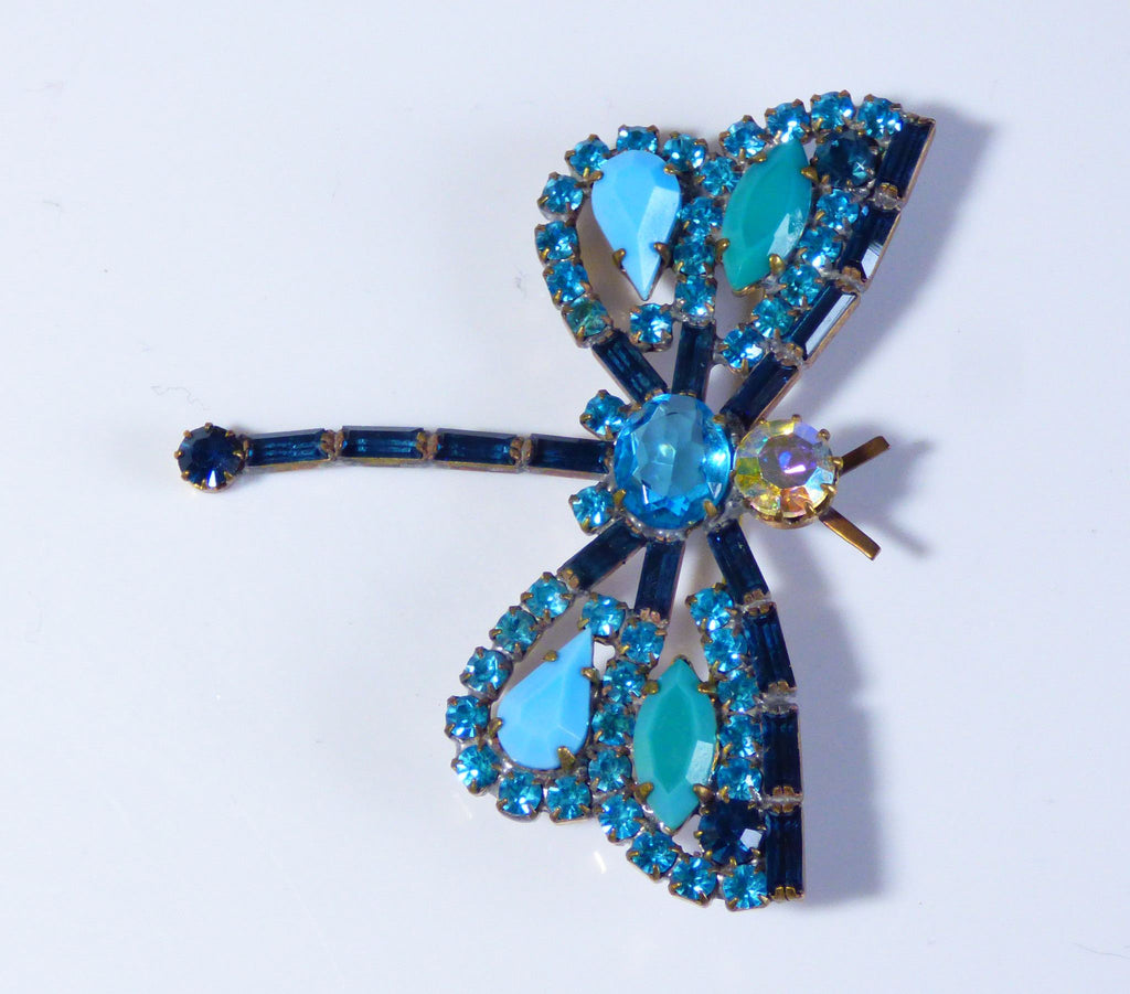 Czech Blue Rhinestone Dragonfly Pin - Vintage Lane Jewelry