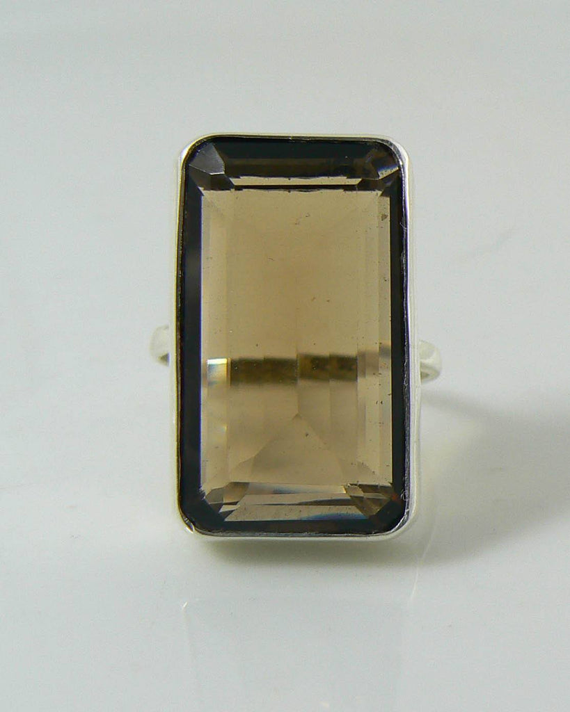 Topaz 18 carat Sterling Silver Ring, Natural Smoky Topaz, 925 - Vintage Lane Jewelry