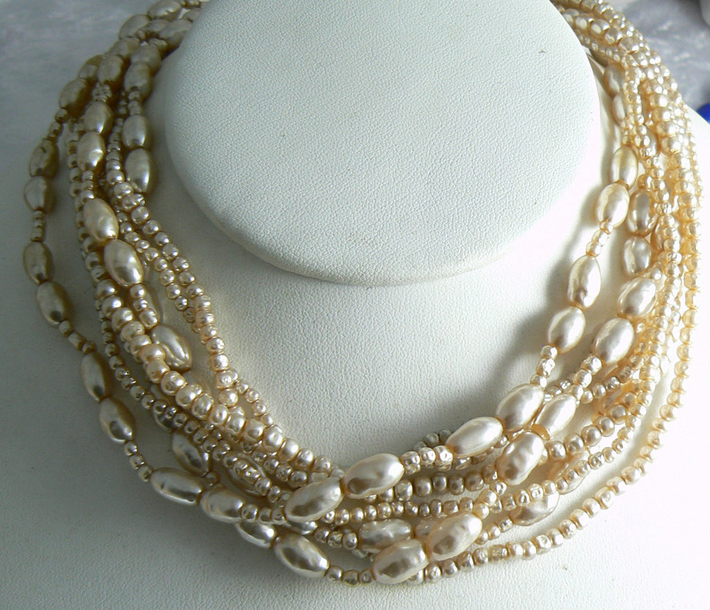 Vintage Miriam Haskell Multi-strand Baroque Pearl Necklace - Vintage Lane Jewelry