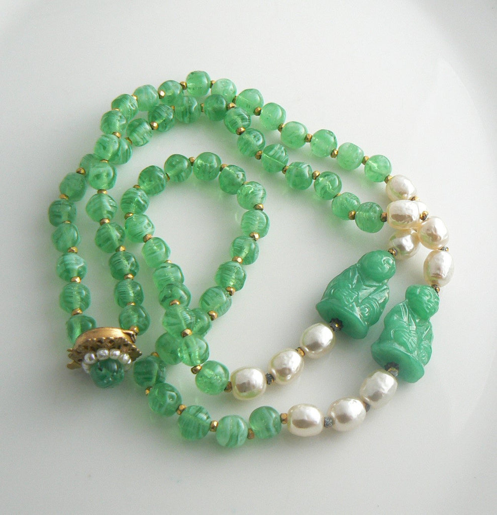 Miriam Haskell Peking Glass & Baroque Pearl Buddha Necklace - Vintage Lane Jewelry