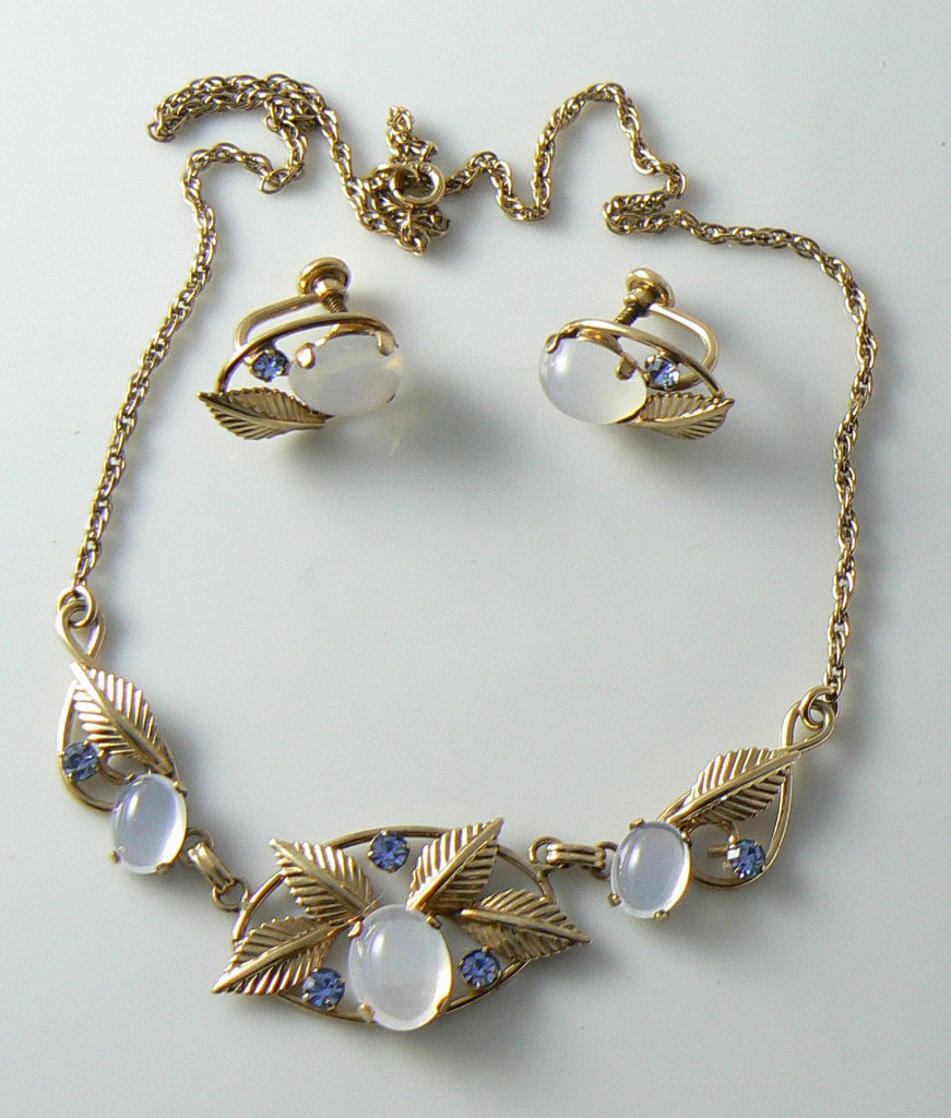 Delicate Moon Stone And Blue Rhinestone Necklace And Earring Set - Vintage Lane Jewelry