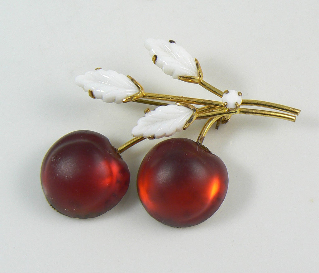 Austrian Frosted Glass Cherries and Milk Glass Leaves Brooch - Vintage Lane Jewelry