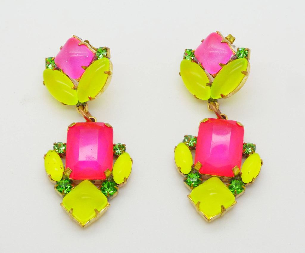 Czech Pink and Yellow Neon Japanned Pierced Style Earrings - Vintage Lane Jewelry