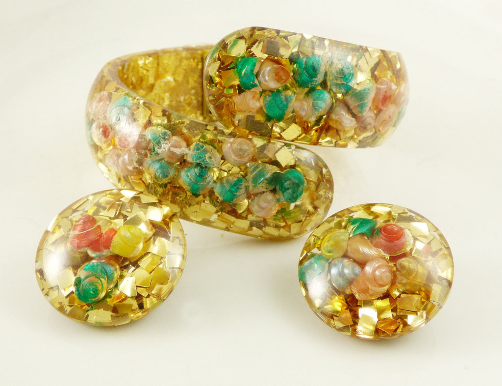 Gold Confetti and Sea Shells Lucite Clamper and Earring Set - Vintage Lane Jewelry