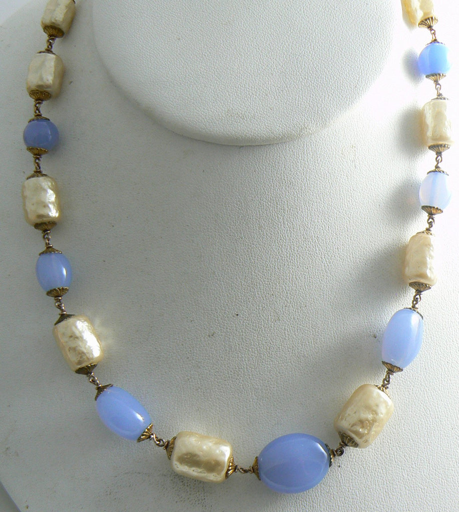 Miriam Haskell Baroque Style Pearl Chalcedony Glass Bead Necklace - Vintage Lane Jewelry