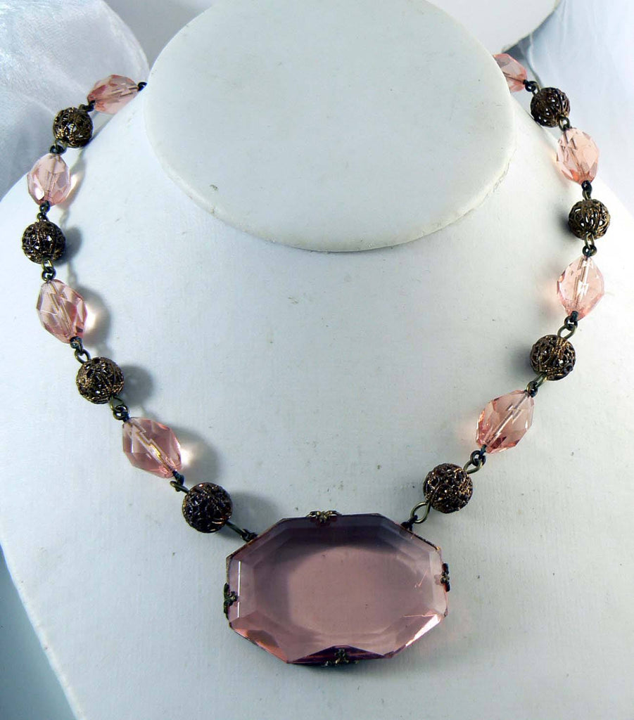 Art Deco Peach Pink Glass Bead Pendant Necklace - Vintage Lane Jewelry