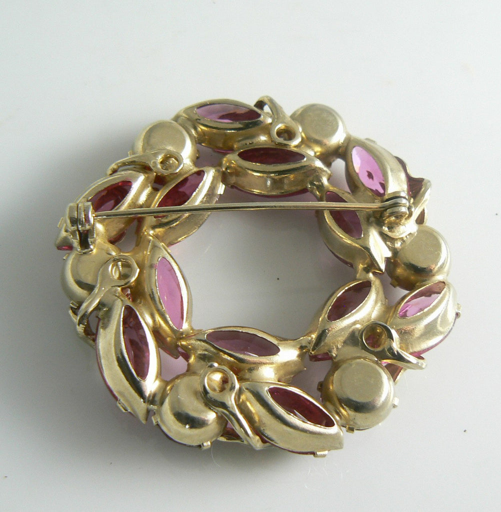 Pretty Vintage Pink Rhinestone And Enamel Flower Brooch - Vintage Lane Jewelry