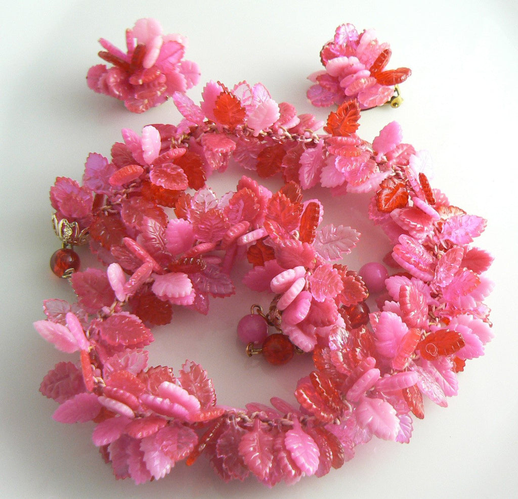 Colorful Plastic Shades of Pink Leaf Necklace Earring Set - Vintage Lane Jewelry