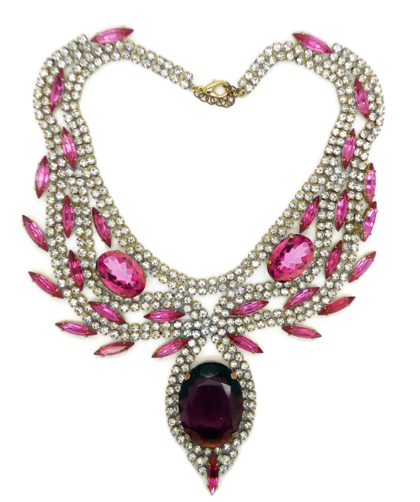 Statement Necklace Husar D. Pink, Purple and Clear Rhinestones - Vintage Lane Jewelry
