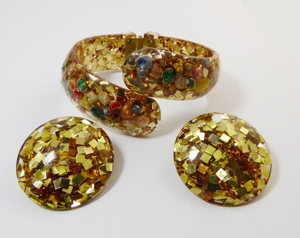 Confetti and Sea Shells Lucite Clamper and Earring Set - Vintage Lane Jewelry