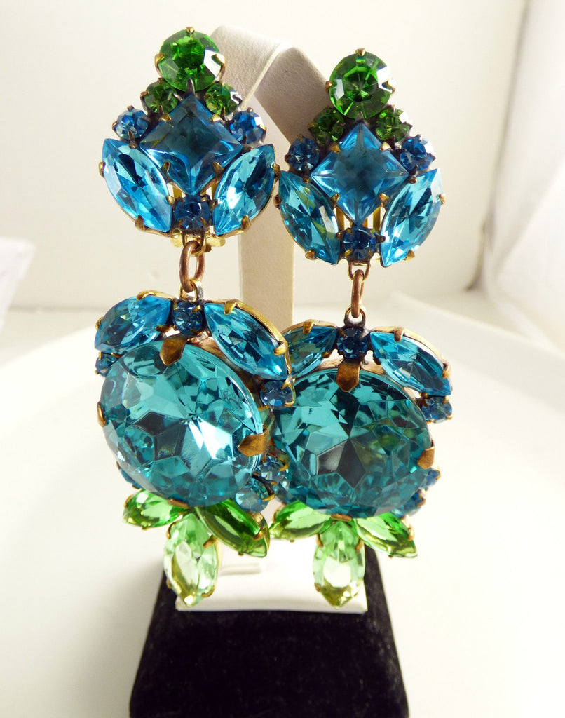 Czech Glass Dangling Clip Earrings Aqua Blue and Green - Vintage Lane Jewelry