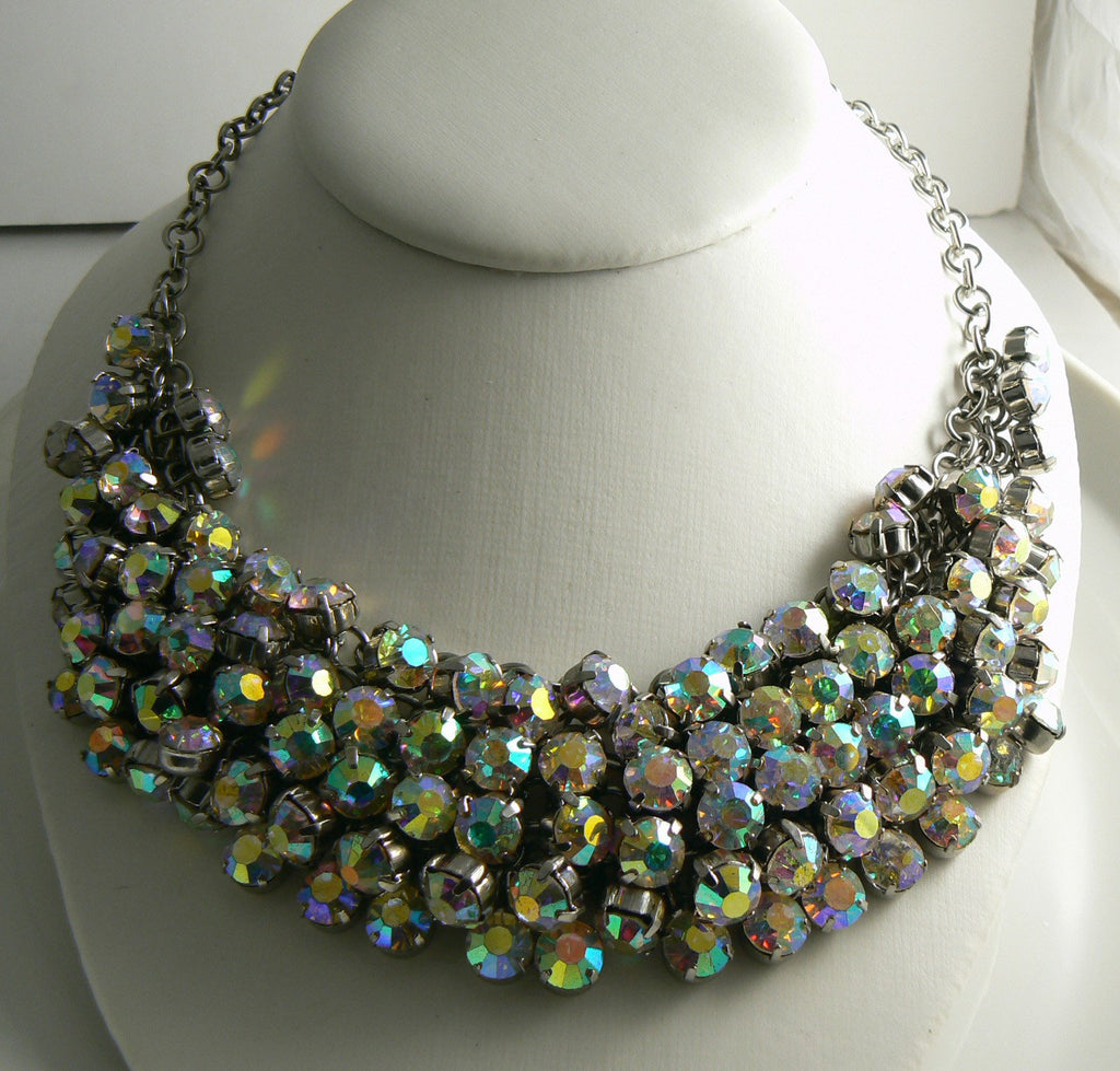 Necklace of Rows and Rows of AB Crystal Rhinestones - Vintage Lane Jewelry