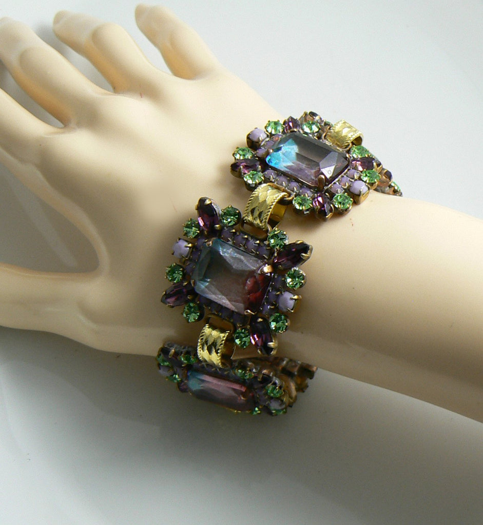 Czech Glass Lavender and Green Bracelet Pierced Earring Set - Vintage Lane Jewelry