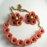 Vintage Plastic Red Flower Rhinestone Necklace Earring Set - Vintage Lane Jewelry