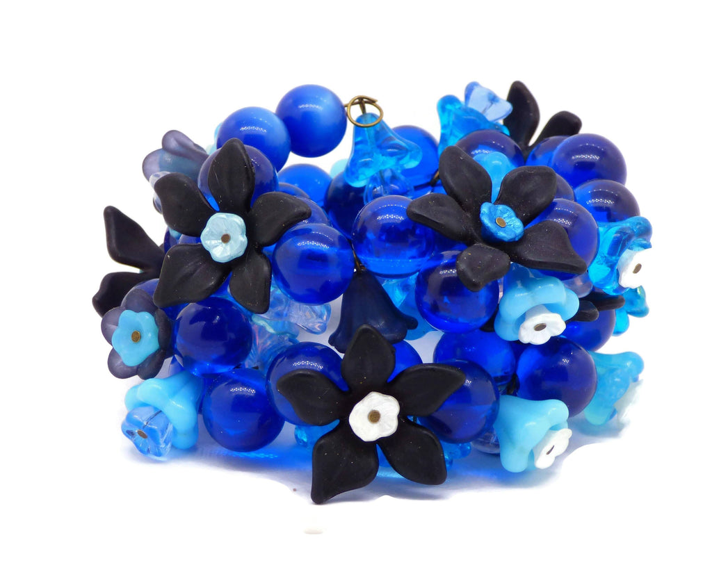 Flowers and Blue Beads Memory Bracelet - Vintage Lane Jewelry