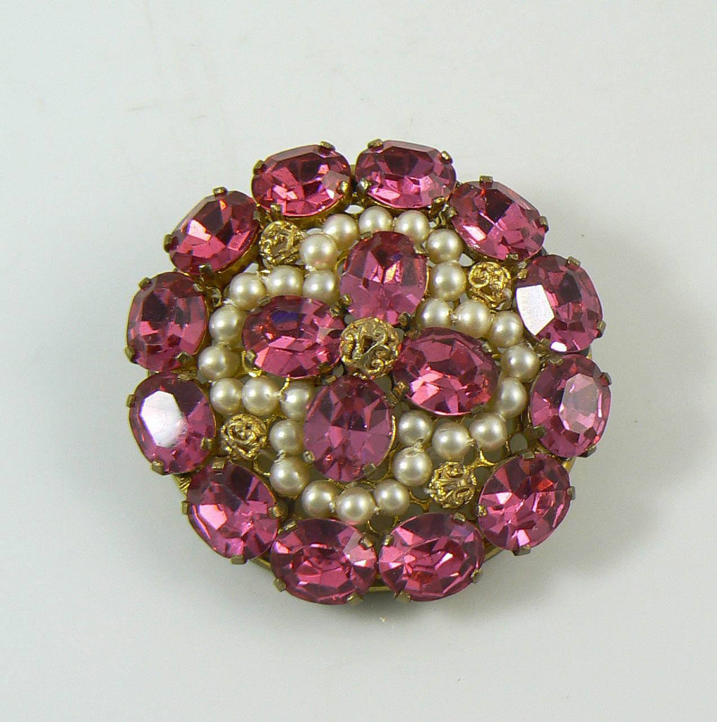 Art Deco Pink Rhinestone Hand Wired Faux Pearl Vintage Brooch - Vintage Lane Jewelry