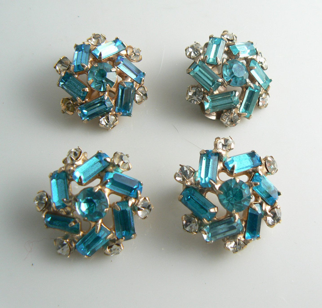 Vintage Teal colored Rhinestone Earrings and Scatter Pin Set - Vintage Lane Jewelry