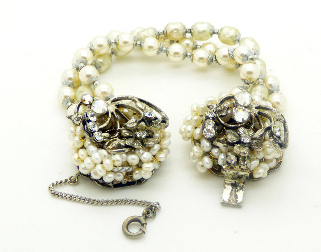Miriam Haskell Glass Pearl Bracelet - Vintage Lane Jewelry