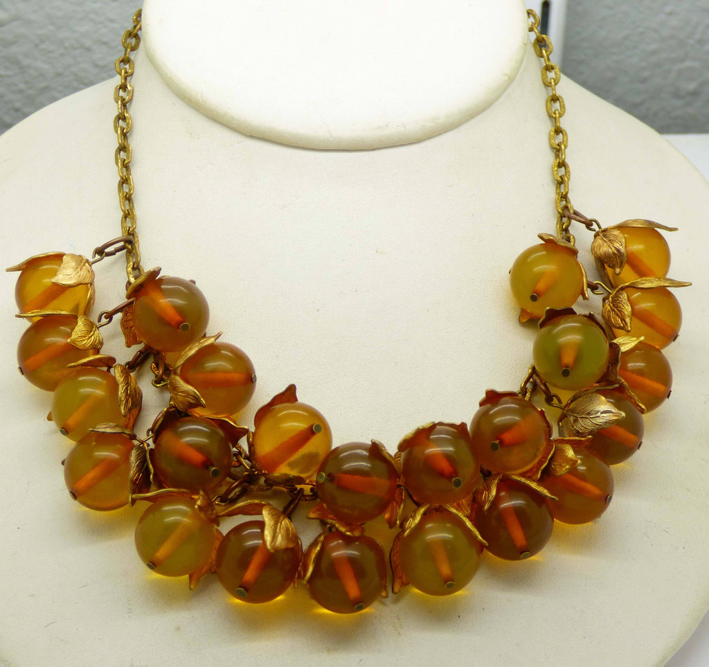 Bakelite Beaded Brass Leaf Necklace - Vintage Lane Jewelry