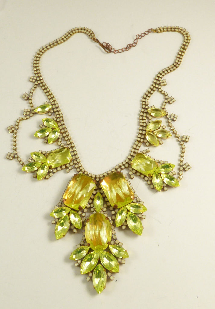 Czech Vaseline Uranium Statement Necklace Husar D - Vintage Lane Jewelry