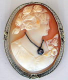 Vintage 14K White Gold Filigree Carved Shell Cameo Miners Cut Diamond Habille Brooch - Vintage Lane Jewelry