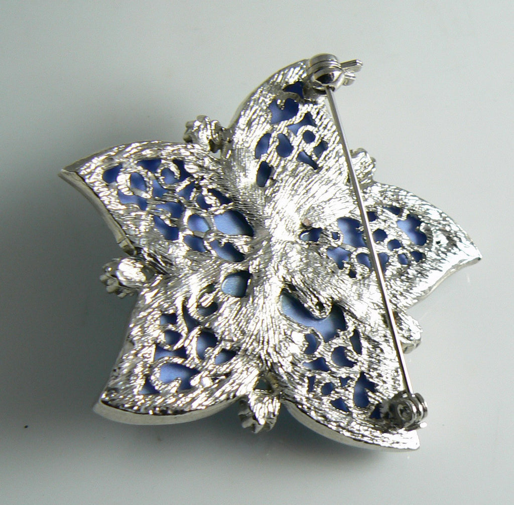 Beautiful Blue Poured Art Glass Ab Rhinestone Flower Pin Brooch - Vintage Lane Jewelry