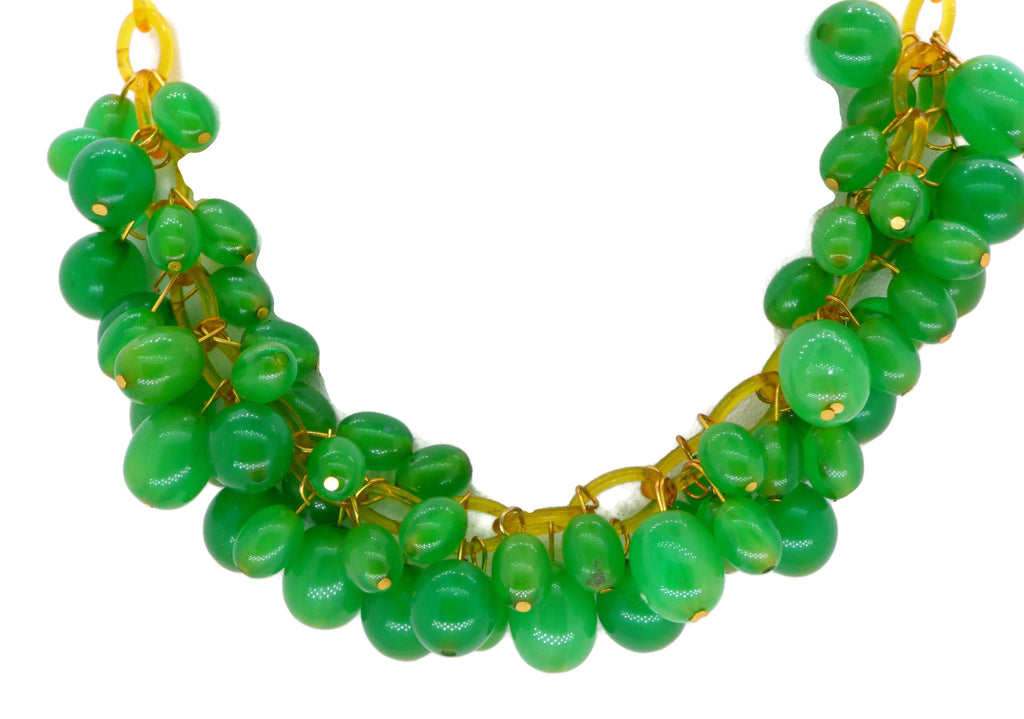 Vintage Green Bakelite Beads Gold Celluloid Chain Necklace - Vintage Lane Jewelry