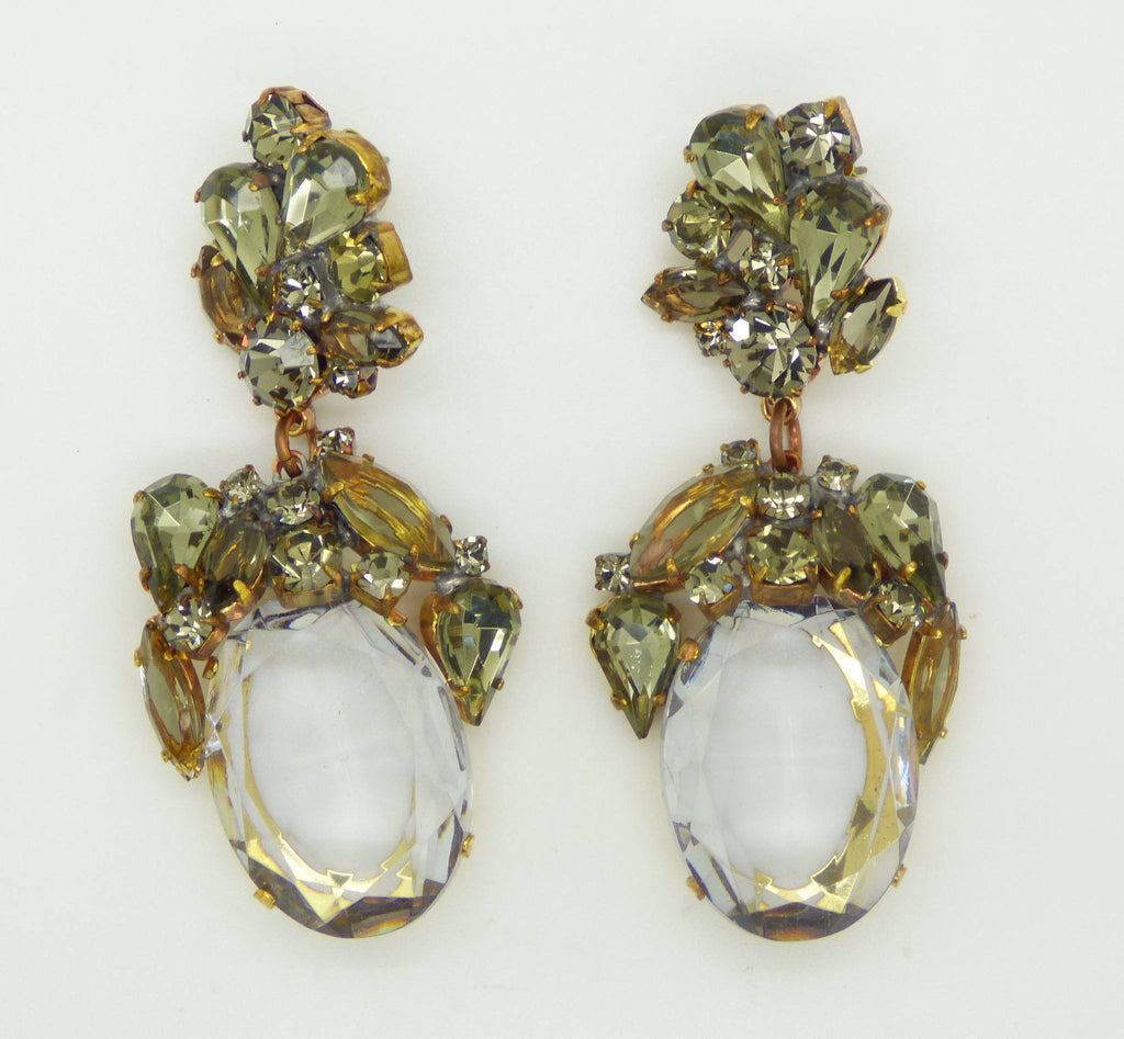 Czech Glass Smoke Grey Dangle Pierced Style Earrings, Rhinestone, open-back - Vintage Lane Jewelry