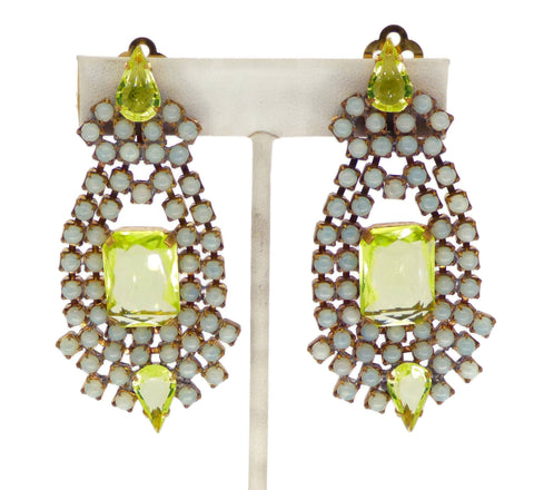 Czech Long Dangling Vaseline Uranium Clip Earrings