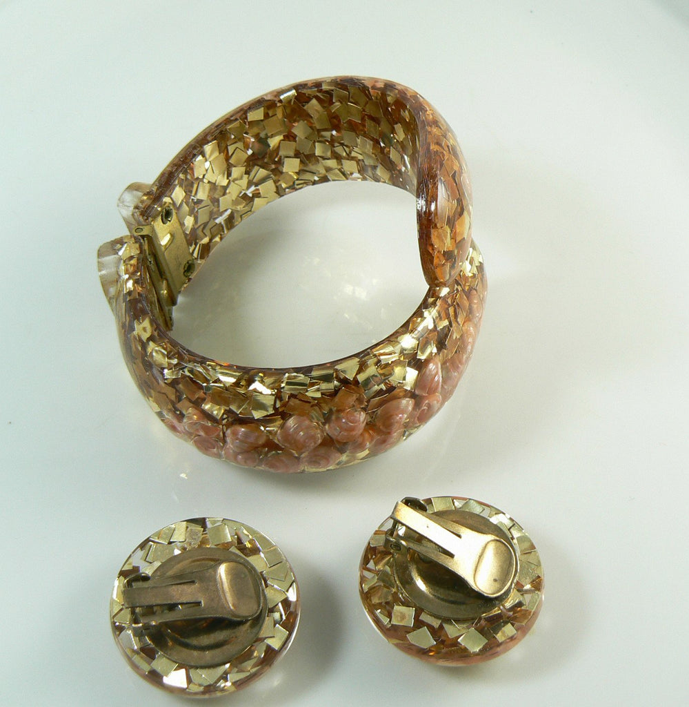 Gold Confetti and Sea Shell Lucite Clamper and Earring Set - Vintage Lane Jewelry