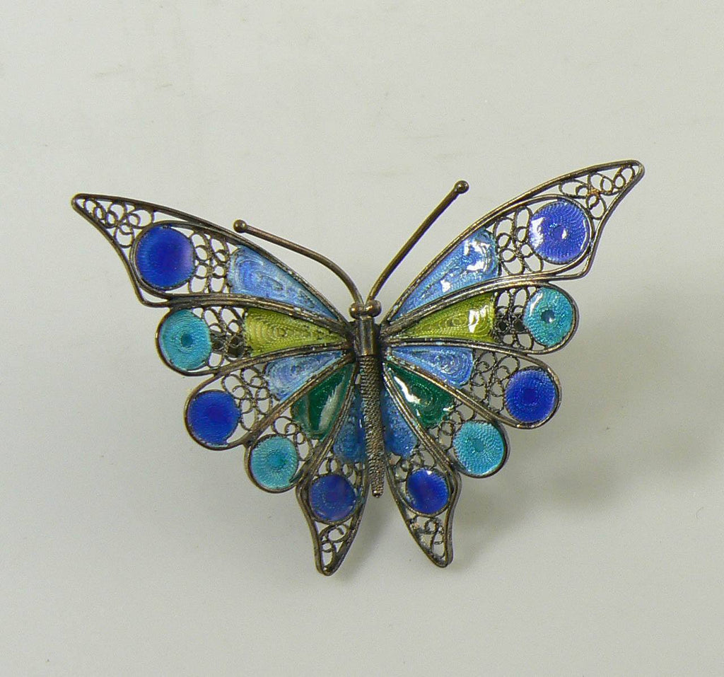 Enameled Butterfly 800 Silver Filigree Pin, Blue and Green - Vintage Lane Jewelry