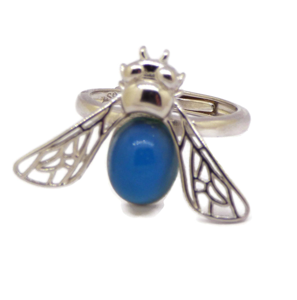 Mood Ring Sterling Silver Bee Setting - Vintage Lane Jewelry