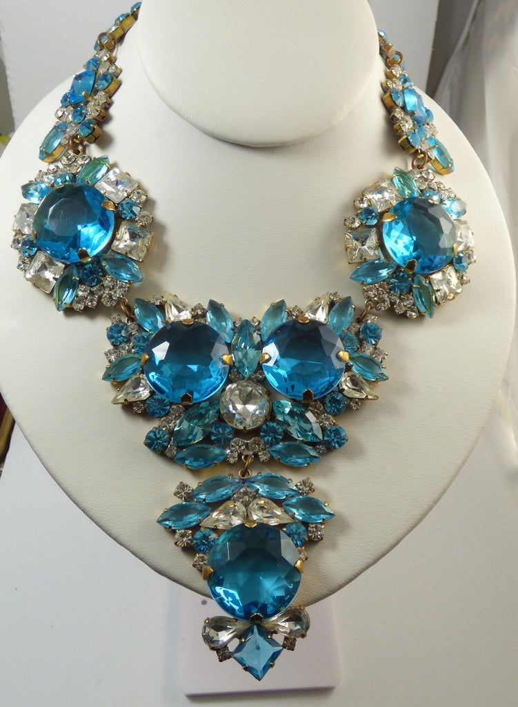 Aqua Blue and Clear Czech Glass Statement Necklace - Vintage Lane Jewelry