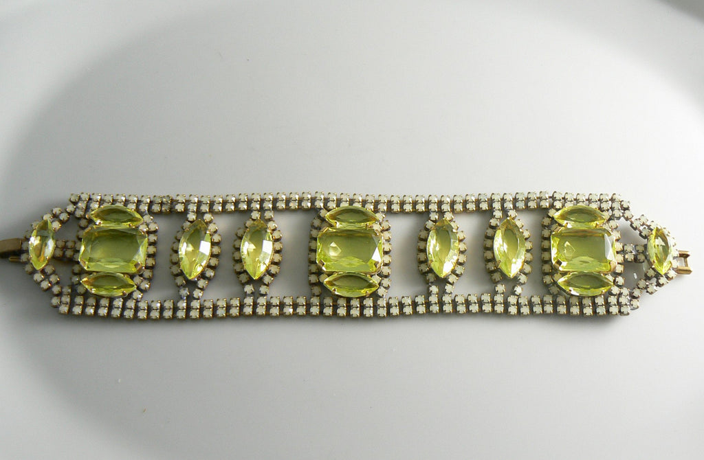 Czech Vaseline Uranium Glass Bracelet - Vintage Lane Jewelry