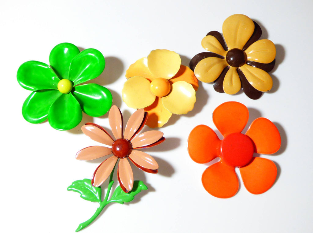 Retro Flower Power Enamel Flower Pins - Vintage Lane Jewelry