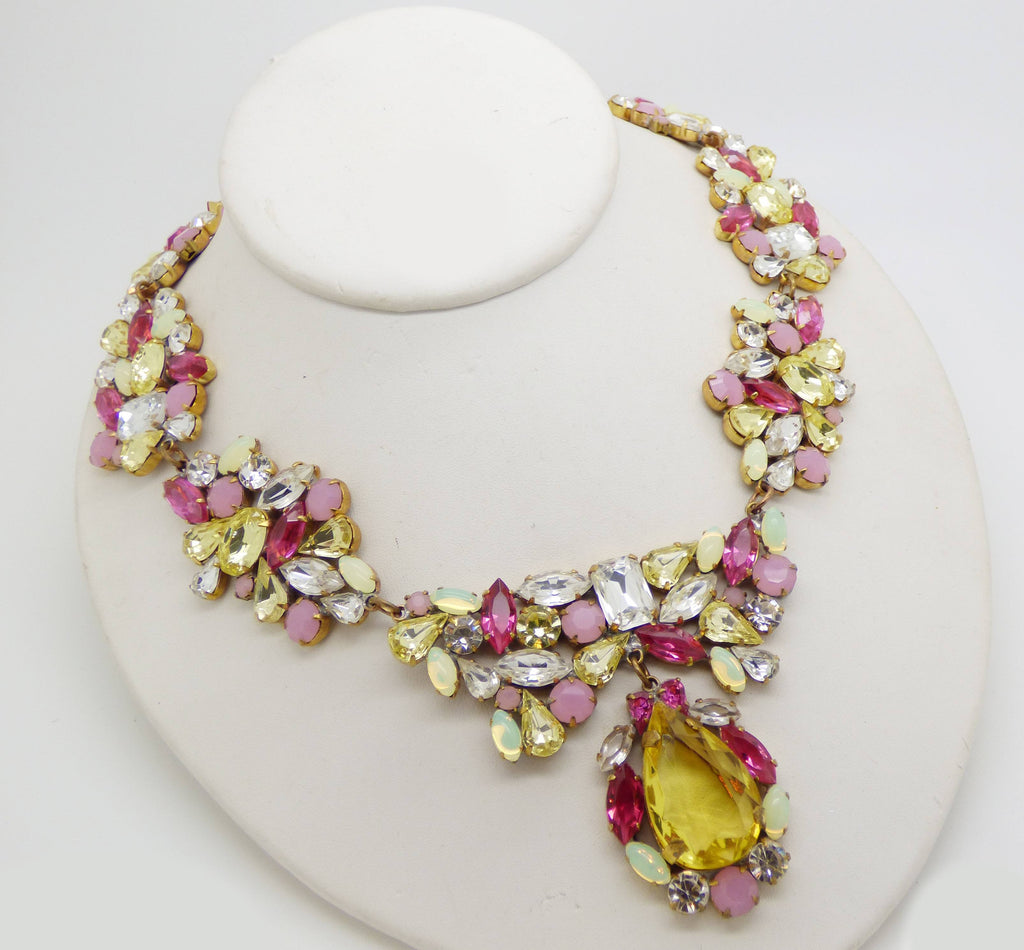 Czech Glass Pastel Rhinestone Pendant Necklace and Clip Earrings - Vintage Lane Jewelry