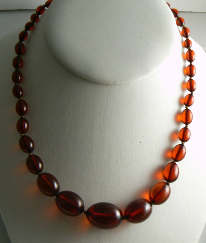 Art Deco Sterling & Cherry Amber Bakelite Bead Necklace - Vintage Lane Jewelry