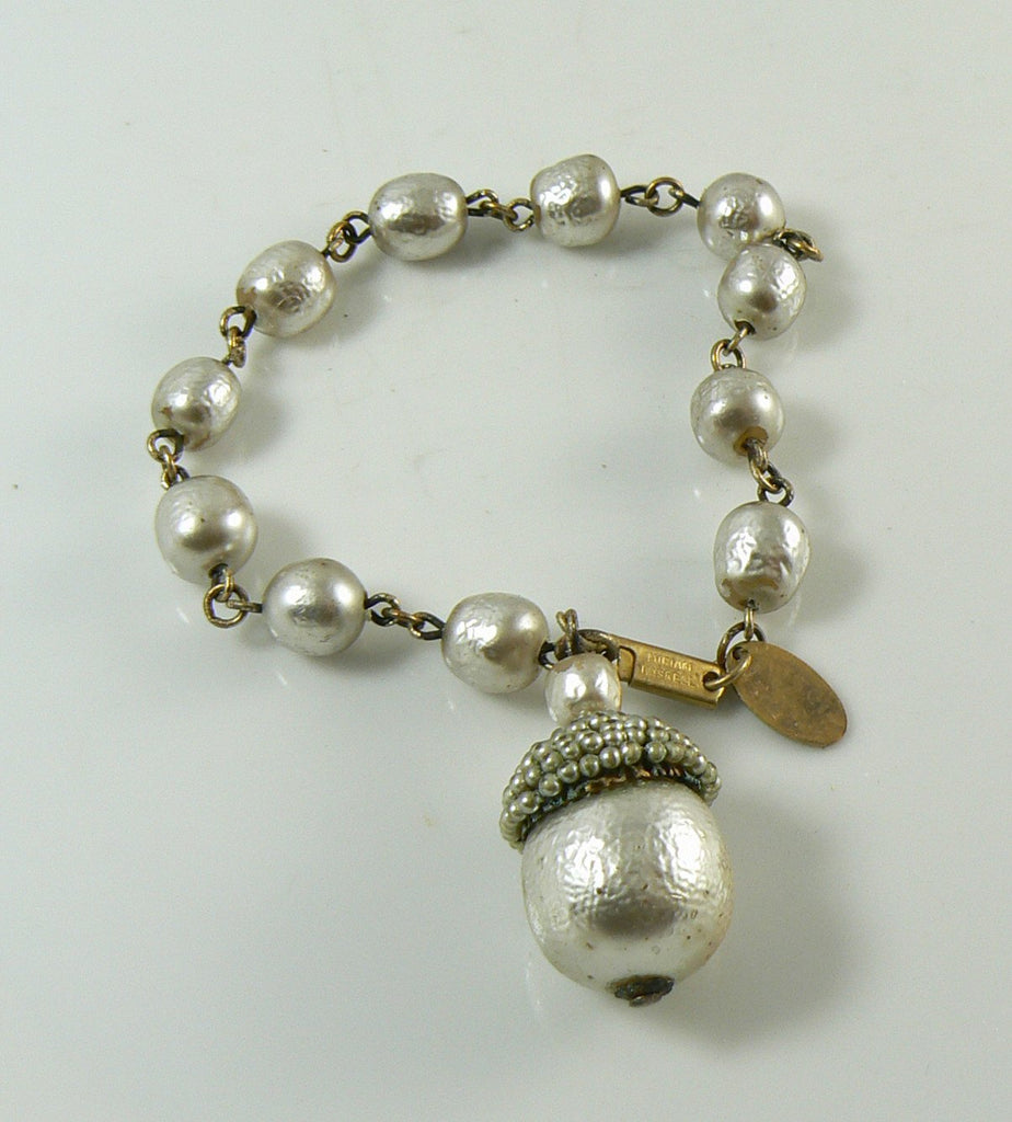 Baroque Pearl Miriam Haskell Bracelet Signed - Vintage Lane Jewelry