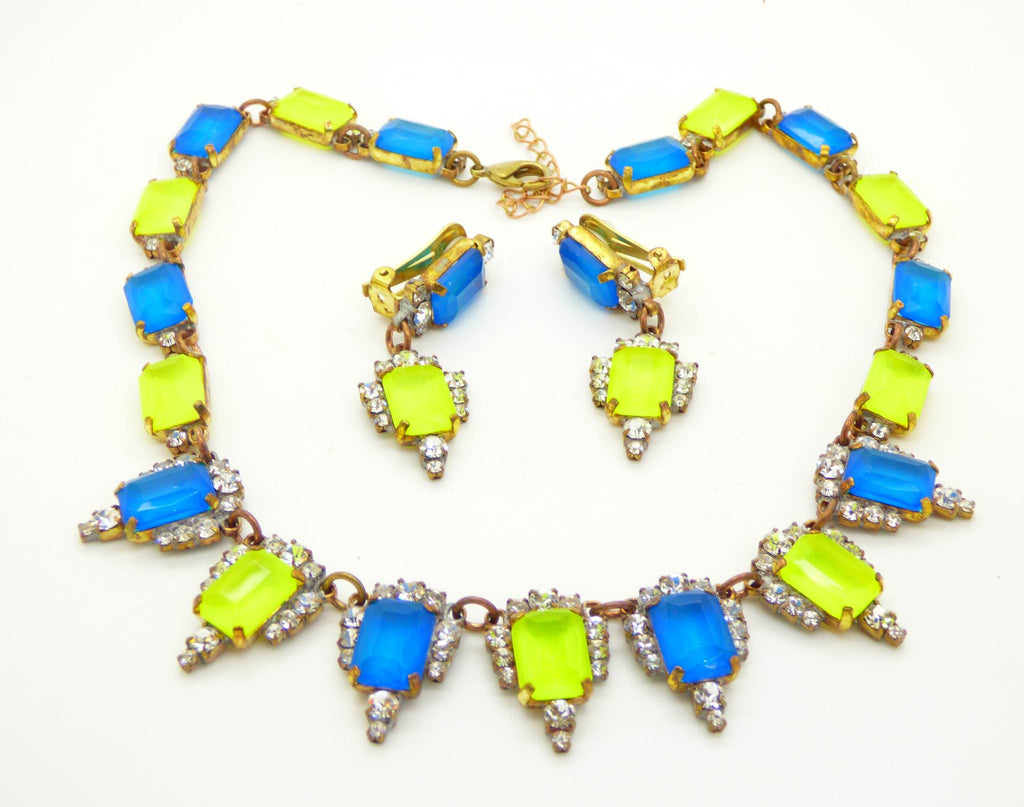 Czech glass Neon Blue and Yellow square cut rhinestones necklace and clip earrings - Vintage Lane Jewelry