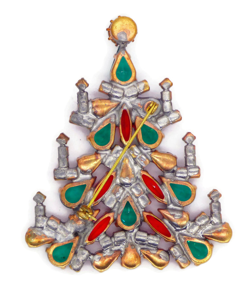 Czech Glass Christmas Tree Brooch with Candles, Vintage Rhinestones Xmas Tree Pin - Vintage Lane Jewelry