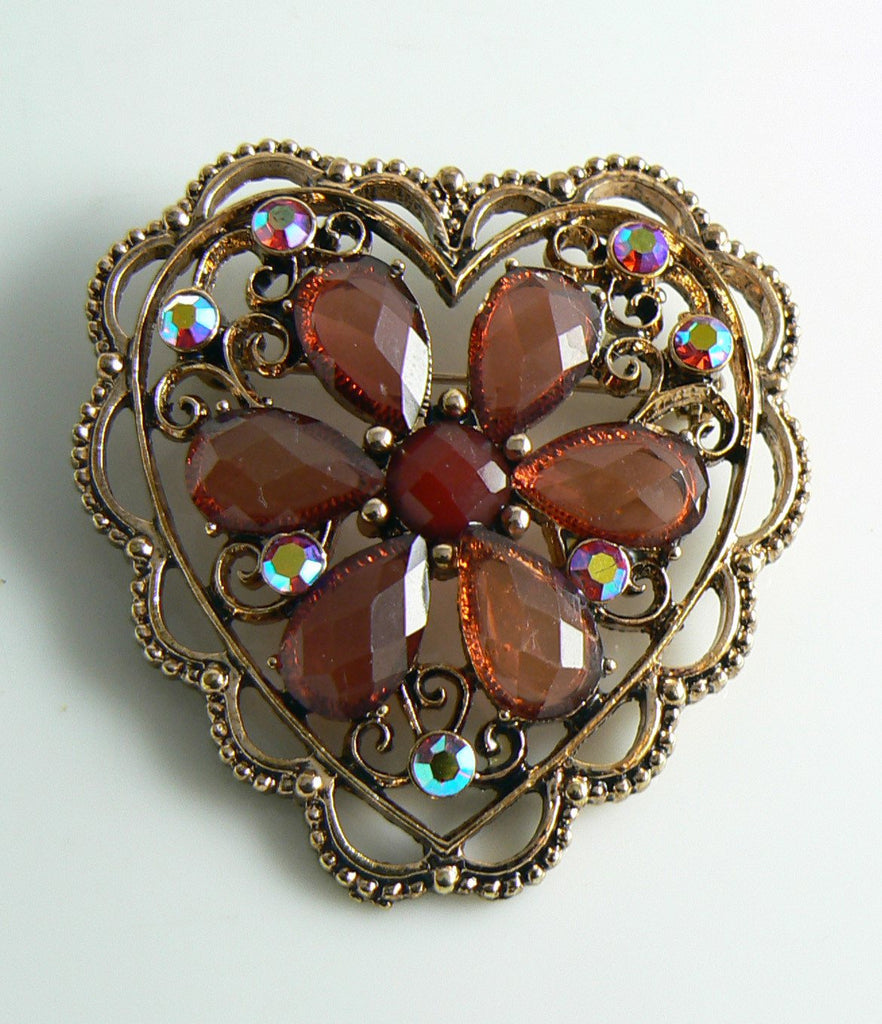 Copper and Pink Red Rhinestone Heart Brooch - Vintage Lane Jewelry