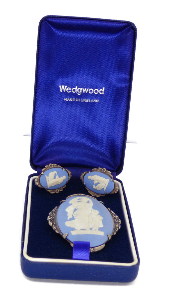 Wedgwood Blue Jasperware Suite in Sterling Silver, Brooch and Earrings - Vintage Lane Jewelry