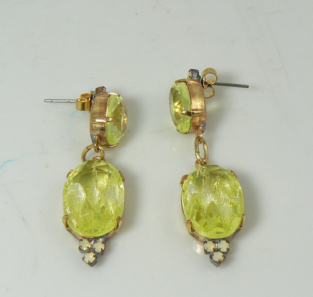 Czech Vaseline Uranium Glass Earrings - Vintage Lane Jewelry